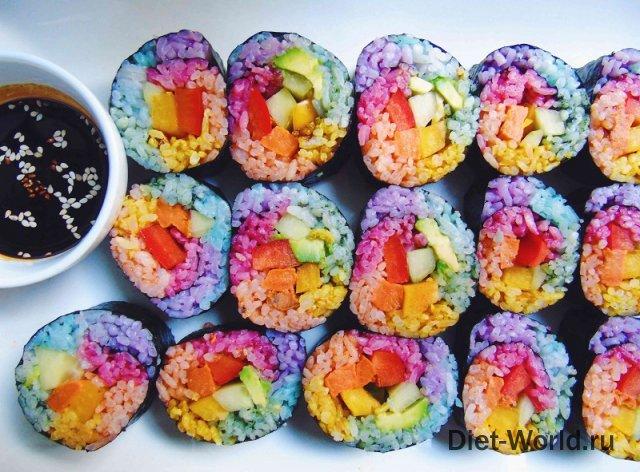 Радужные роллы и суши - новый тренд!
